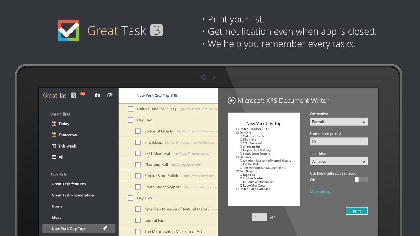 Great Task - Your ultimate to-do list on Windows 8